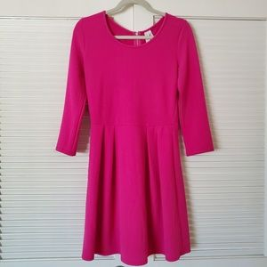 PINK OWL | Hot Pink Long Sleeve Dress